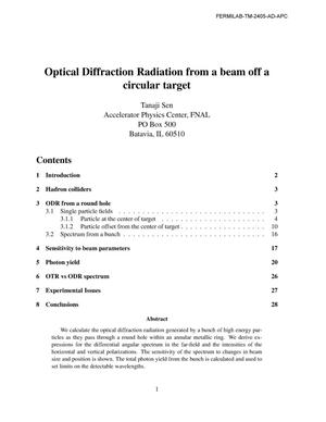 Primary view of object titled 'Optical diffraction radiation from a beam off a circular target'.