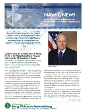 Primary view of object titled 'NAWIG News: The Quarterly Newsletter of the Native American Wind Interest Group, Spring 2008'.