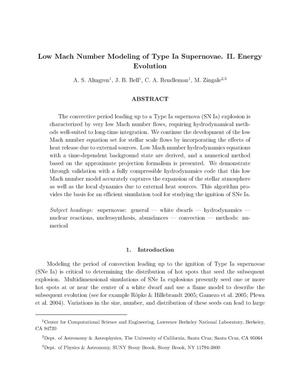Primary view of object titled 'Low Mach Number Modeling of Type Ia Supernovae. II. EnergyEvolution'.