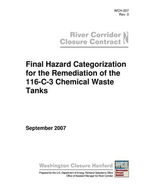 Primary view of object titled 'Final Hazard Categorization for the Remediation of the 116-C-3 Chemical Waste Tanks'.