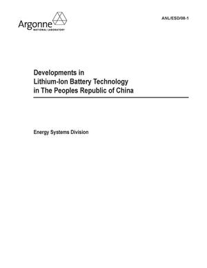Primary view of object titled 'Developments in lithium-ion battery technology in the Peoples Republic of China.'.