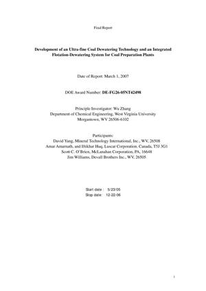 Primary view of object titled 'Development of an Ultra-fine Coal Dewatering Technology and an Integrated Flotation-Dewatering System for Coal Preparation Plants'.