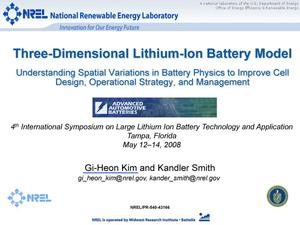 Primary view of object titled 'Three-Dimensional Lithium-Ion Battery Model (Presentation)'.