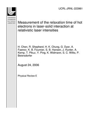 Primary view of object titled 'Measurement of the relaxation time of hot electrons in laser-solid interaction at relativistic laser intensities'.