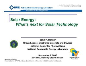 Primary view of object titled 'Solar Energy: What's Next for Solar Technology (Presentation)'.