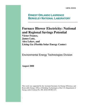 Primary view of object titled 'Furnace Blower Electricity: National and Regional Savings Potential'.