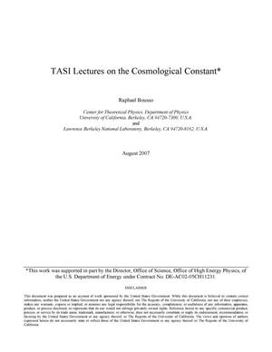 Primary view of object titled 'TASI Lectures on the cosmological constant'.