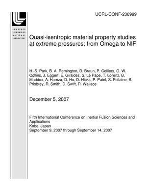 Primary view of object titled 'Quasi-isentropic material property studies at extreme pressures: from Omega to NIF'.