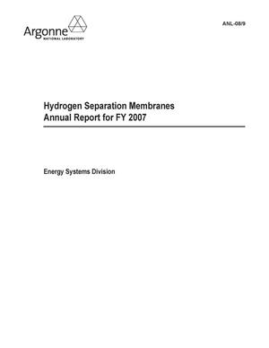 Primary view of object titled 'Hydrogen separation membranes - annual report for FY 2007.'.
