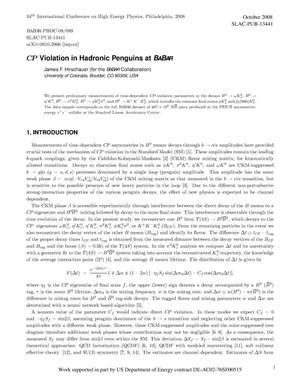Primary view of object titled 'CP Violation in Hadronic Penguins at BABAR'.