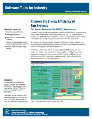 Primary view of object titled 'Improve the Energy Efficiency of Fan Systems, Software Tools for Industry, Industrial Technologies Program (ITP) (Fact Sheet)'.