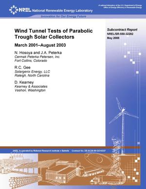 Primary view of object titled 'Wind Tunnel Tests of Parabolic Trough Solar Collectors: March 2001--August 2003'.