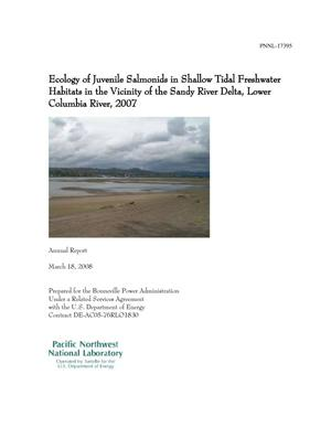 Primary view of object titled 'Ecology of Juvenile Salmonids in Shallow Tidal Freshwater Habitats in the Vicinity of the Sandy River Delta, Lower Columbia River, 2007'.