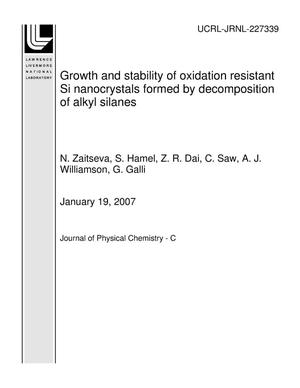 Primary view of object titled 'Growth and stability of oxidation resistant Si nanocrystals formed by decomposition of alkyl silanes'.