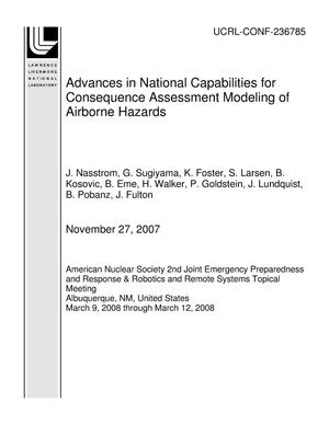 Primary view of object titled 'Advances in National Capabilities for Consequence Assessment Modeling of Airborne Hazards'.