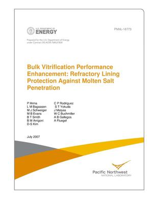 Primary view of object titled 'Bulk Vitrification Performance Enhancement: Refractory Lining Protection Against Molten Salt Penetration'.