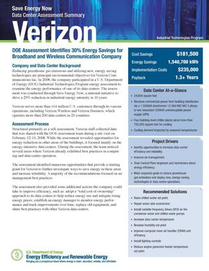 Primary view of object titled 'Verizon, Save Energy Now (SEN) Data Center Assessment Summary'.