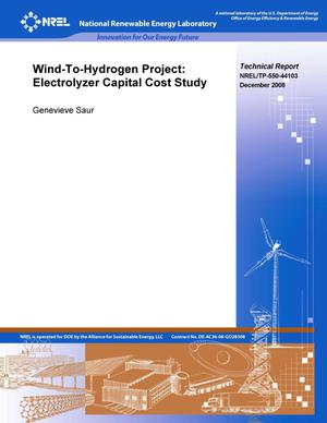 Primary view of object titled 'Wind-To-Hydrogen Project: Electrolyzer Capital Cost Study'.