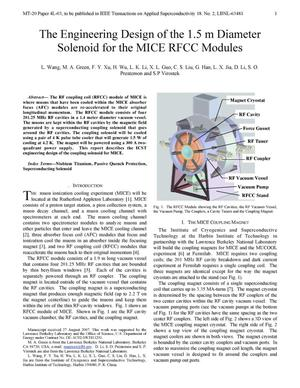 Primary view of object titled 'The Engineering Design of the 1.5 m Diameter Solenoid for the MICERFCC Modules'.