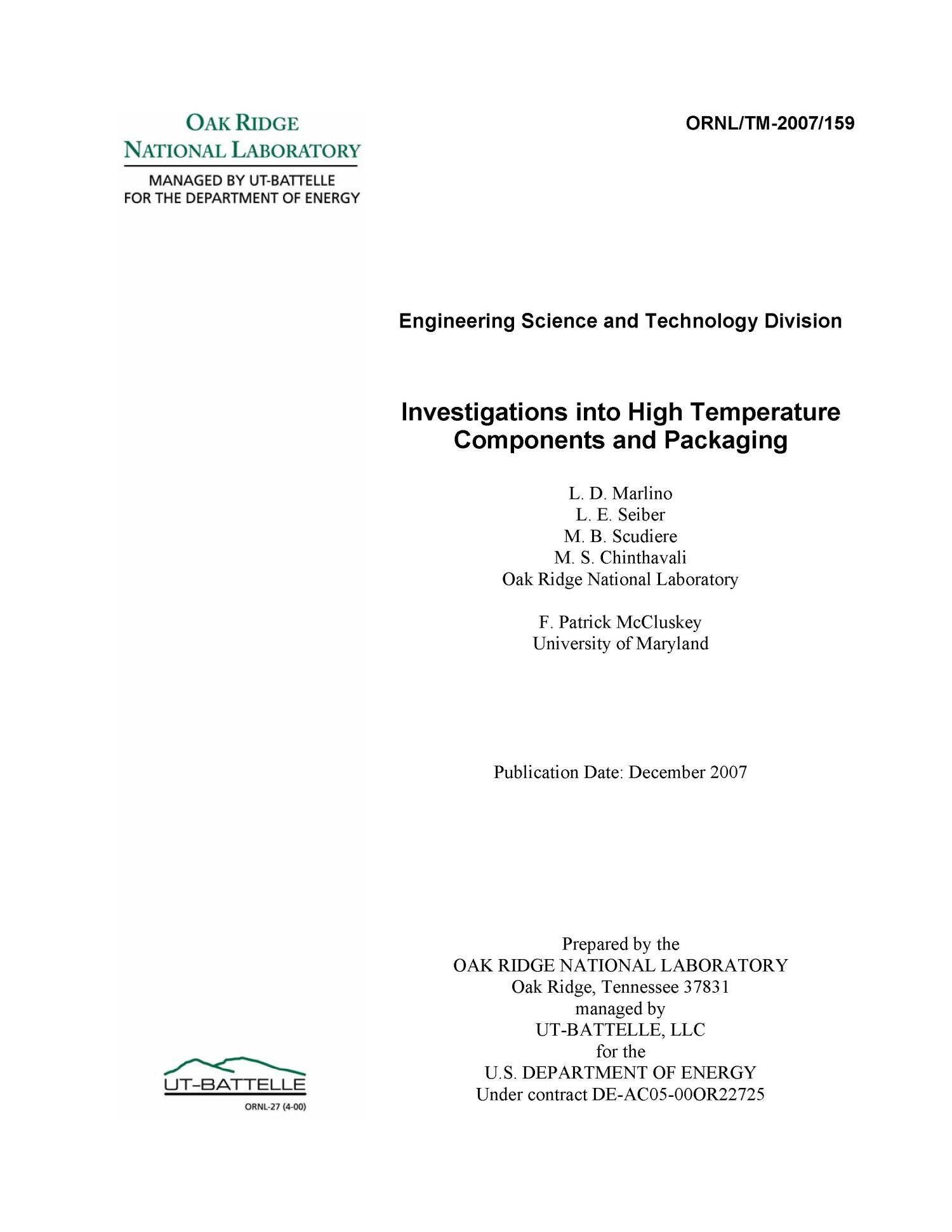 Investigations into High Temperature Components and Packaging                                                                                                      [Sequence #]: 2 of 109