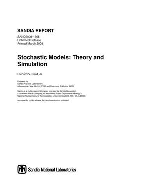 Primary view of object titled 'Stochastic models: theory and simulation.'.