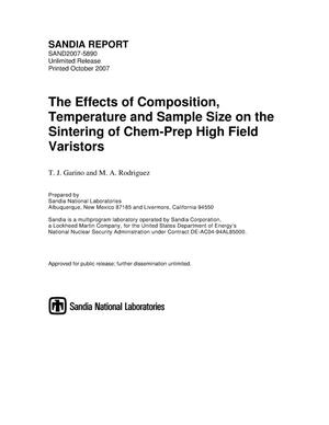 Primary view of object titled 'The effects of composition, temperature and sample size on the sintering of chem-prep high field varistors.'.