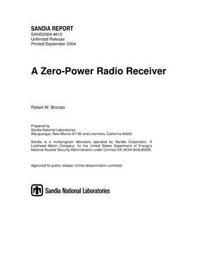 Primary view of object titled 'A zero-power radio receiver.'.
