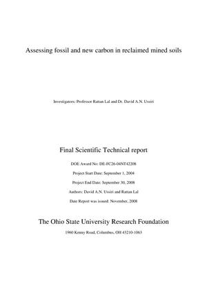 Primary view of object titled 'Assessing Fossil and New Carbon in Reclaimed Mined Soils'.