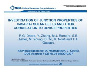 Primary view of object titled 'Investigation of Junction Properties of CdS/CdTe Solar Cells and their Correlation to Device Properties (Presentation)'.