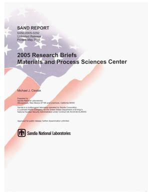 Primary view of object titled '2005 Research Briefs : Materials and Process Sciences Center.'.