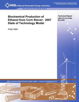 Primary view of object titled 'Biochemical Production of Ethanol from Corn Stover: 2007 State of Technology Model'.