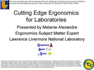 Primary view of object titled 'Cutting Edge Laboratory Ergonomics Presentation for NECE'.