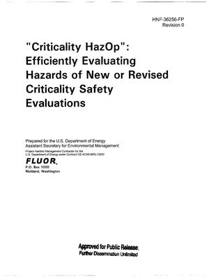 Primary view of object titled 'CRITICALITY HAZOP EFFICIENTLY EVALUATING HAZARDS OF NEW OR REVISED CRITICALITY SAFETY EVALUATIONS'.