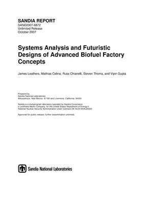 Primary view of object titled 'Systems analysis and futuristic designs of advanced biofuel factory concepts.'.