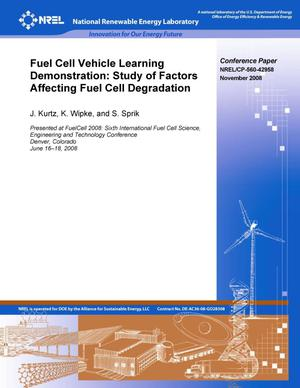 Primary view of object titled 'Fuel Cell Vehicle Learning Demonstration: Study of Factors Affecting Fuel Cell Degradation'.
