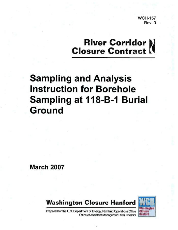 Sampling and Analysis Instruction for Borehole Sampling at