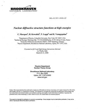Primary view of object titled 'Nuclear diffractive structure functions at high energies'.