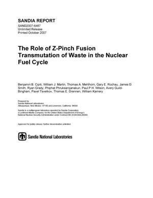 Primary view of object titled 'The role of Z-pinch fusion transmutation of waste in the nuclear fuel cycle.'.