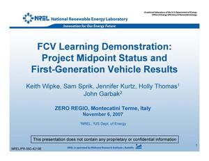 Primary view of object titled 'FCV Learning Demonstration: Project Midpoint Status and First-Generation Vehicle Results (Presentation)'.