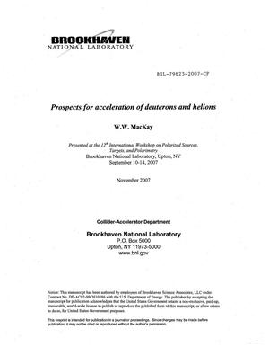 Primary view of object titled 'PROSPECTS FOR ACCELERATION OF DEUTERONS AND HELIONS.'.
