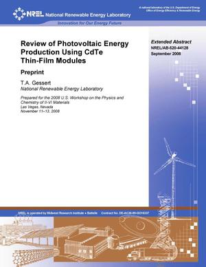 Primary view of object titled 'Review of Photovoltaic Energy Production Using CdTe Thin-Film Modules: Extended Abstract Preprint'.