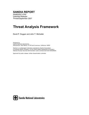 Primary view of object titled 'A threat analysis framework as applied to critical infrastructures in the Energy Sector.'.