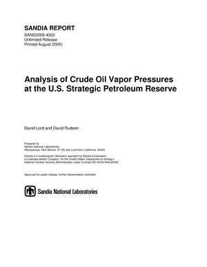 Primary view of object titled 'Analysis of crude oil vapor pressures at the U.S. Strategic Petroleum Reserve.'.