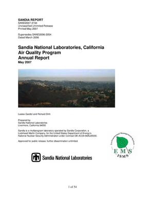 Primary view of object titled 'Sandia National Laboratories, California Air Quality Program : annual report.'.