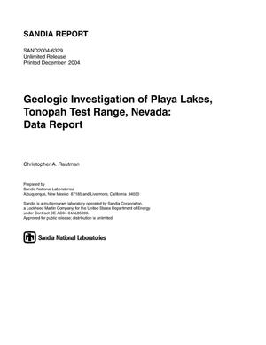 Primary view of object titled 'Geologic investigation of Playa Lakes, Tonopah Test Range, Nevada : data report.'.