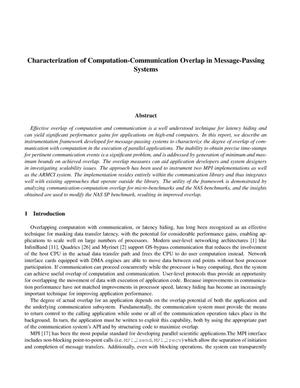 Primary view of object titled 'Characterizing Computation-Communication Overlap in Message-Passing Systems'.