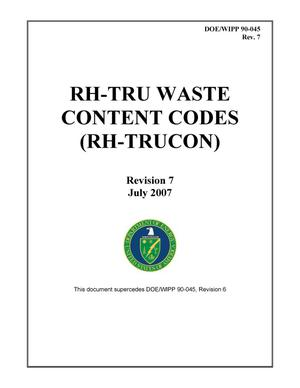 Primary view of object titled 'RH-TRU Waste Content Codes'.