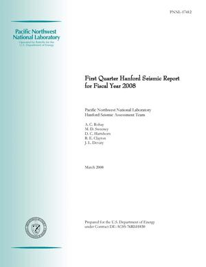 Primary view of object titled 'First Quarter Hanford Seismic Report for Fiscal Year 2008'.