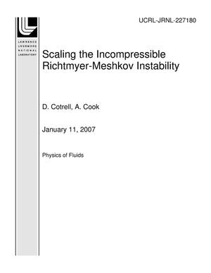 Primary view of object titled 'Scaling the Incompressible Richtmyer-Meshkov Instability'.