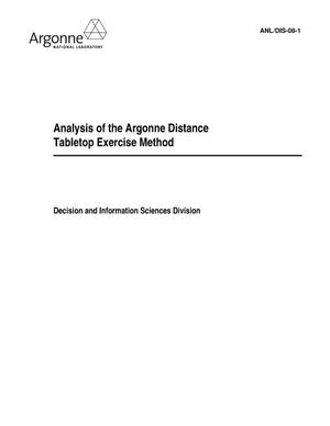 Primary view of object titled 'Analysis of the Argonne distance tabletop exercise method.'.